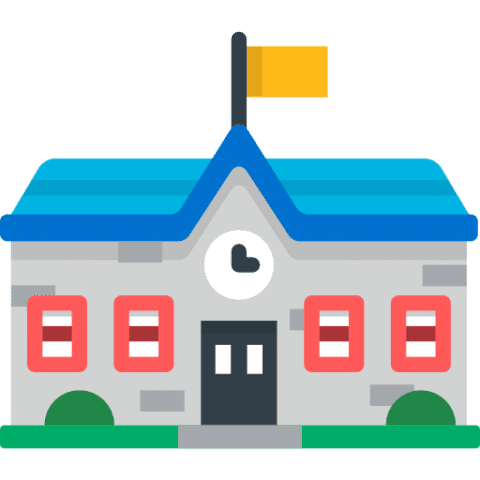 cartoon of school house