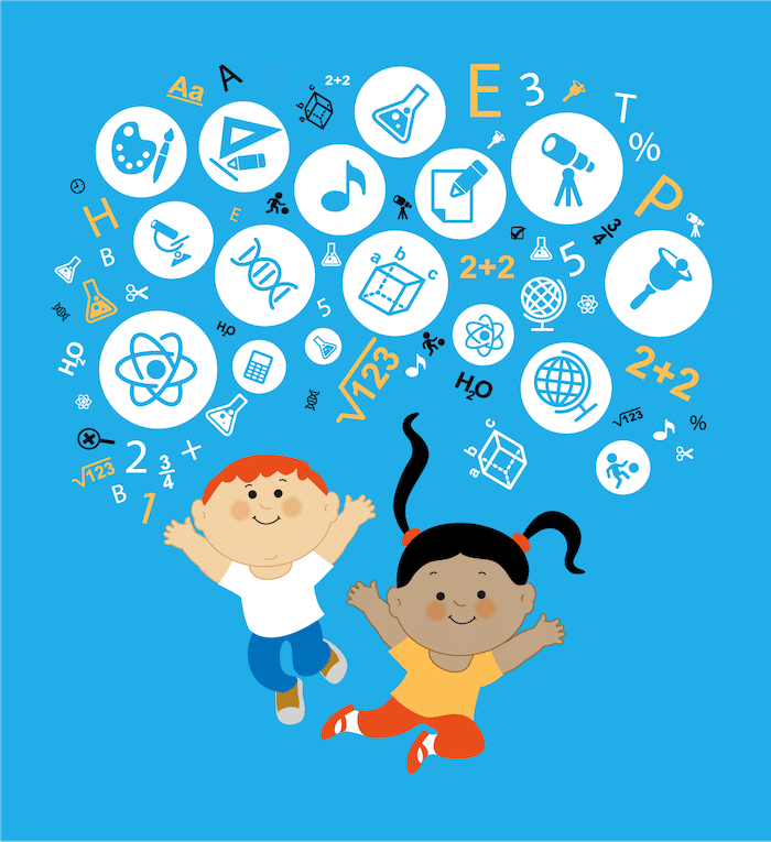 cartoon with two kids and circles of different learning symbols